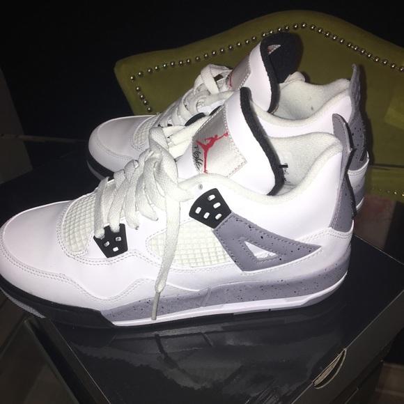 buy popular 3c943 7ffe8 ... Jordan Shoes Retro 4 White Black Cement Gray Big Kids 7 Poshmark